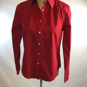 Talbots 6p Button up front red blouse shirt